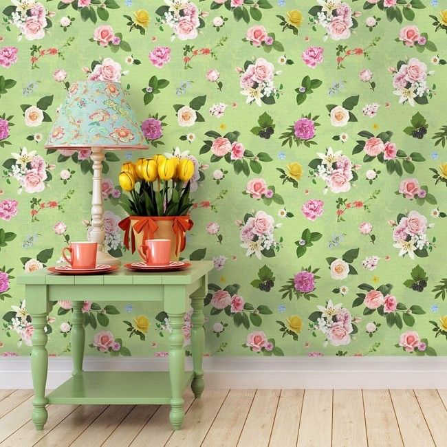 floral wallpaper color design