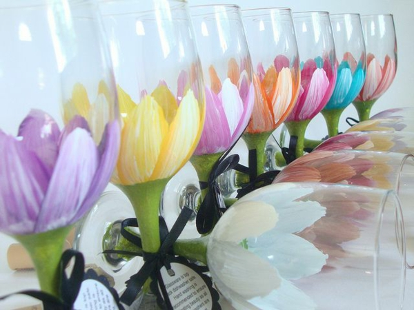 spring flowers pictures flowers pattern table decoration ideas glasses paint