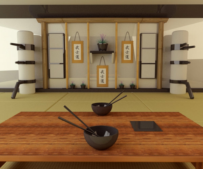 Japanese decor dining room in Japanese style wall decor