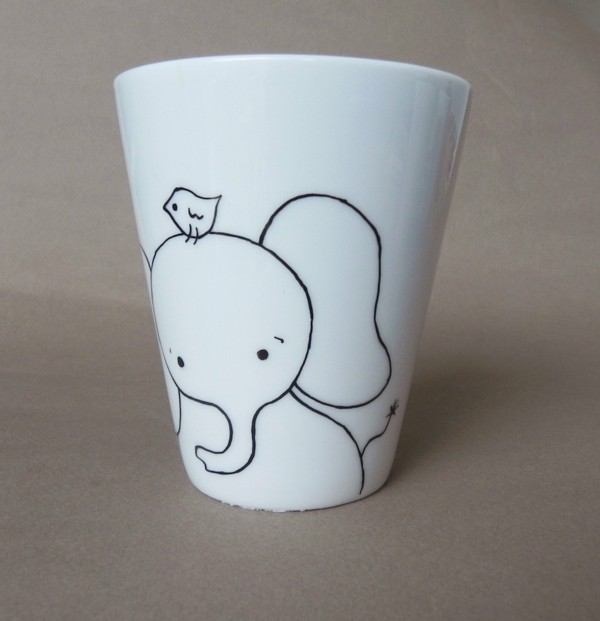 Cups painted elephant with a birds-resized