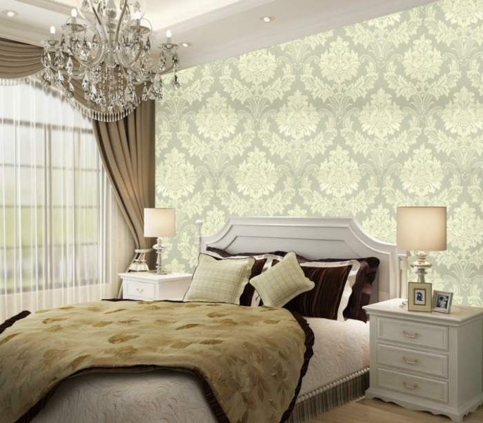 bedroom fringed double bed wall decoration wallpaper