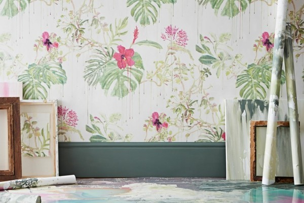 wallpaper pattern with flowers for a natural atmosphere