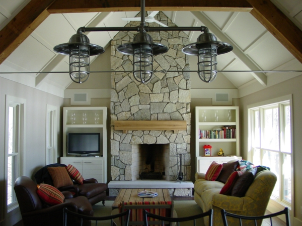 living room design country style fireplace stone wall