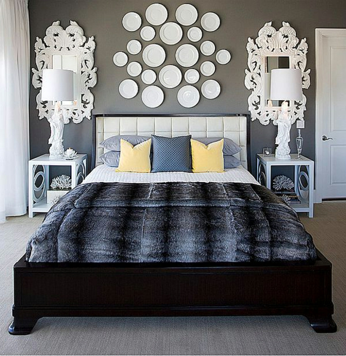 bedroom decorate gray wall paint original wall decoration