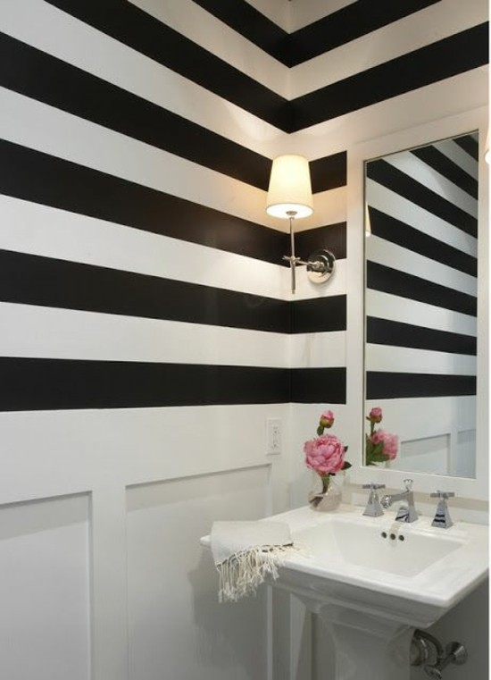 black and white striped walls lines