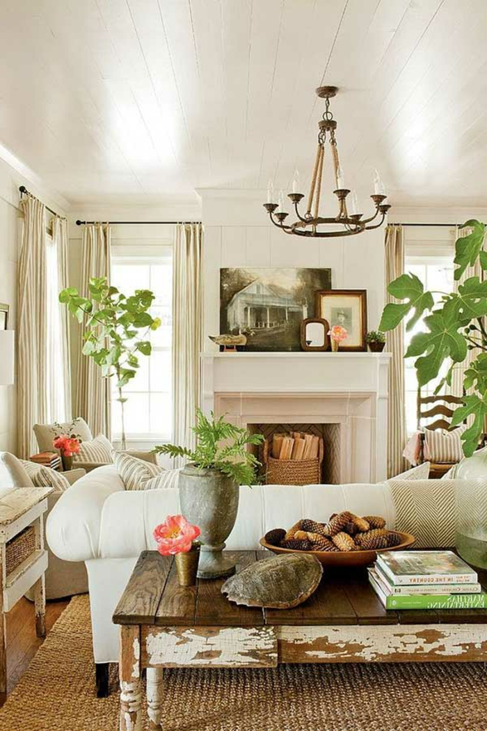 Indoor Plants Living Ideas Living Room White Sofa Rustic Coffee Table