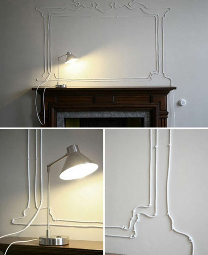 do it yourself decoration white cable wall decoration fireplace