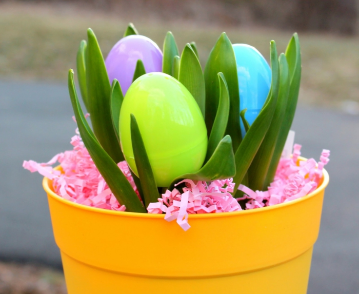 easter decoration easter eggs yellow flowerpot colored decoration easter