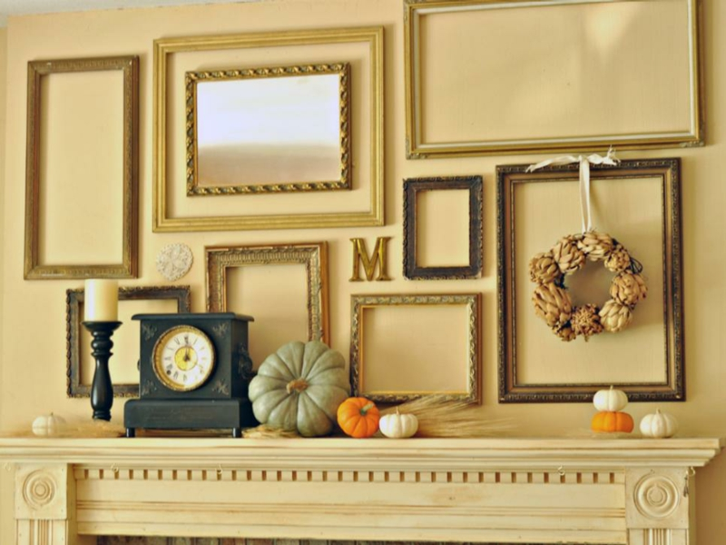 Furnishing ideas living room wall decoration with picture frame fireplace decoration