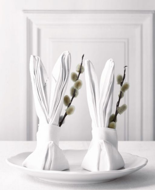 beautiful Easter table decoration in minimalist style