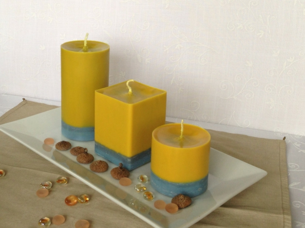 beautiful deco candles yellow blue stripes