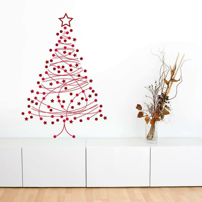 Christmas tree artificially artificial Christmas tree test by wall wall stickers filigree
