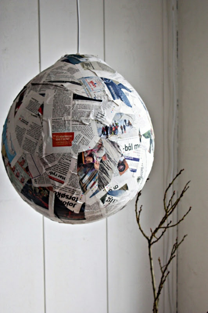 paper lamps hanging lamp pendant light newspaper collage round