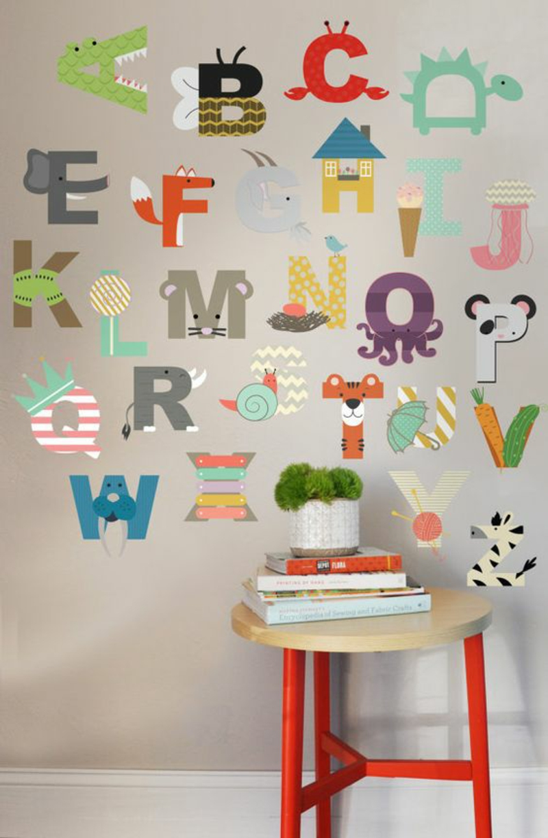 Pattern wallpaper alphabet wallpaper nursery design