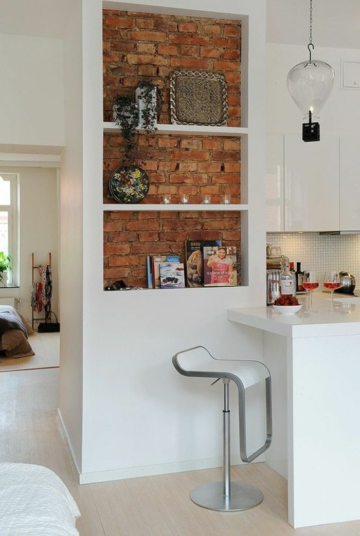 kitchen equipment wall shelves cookbooks arrange brick wall