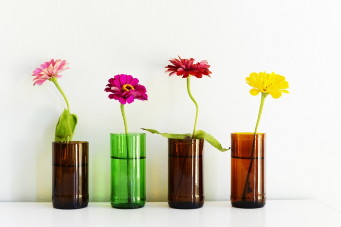 diy ideas bottles of deco flowers