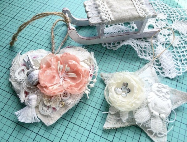 make christmas tree ornaments lace roses fabric shabby chic deco yourself