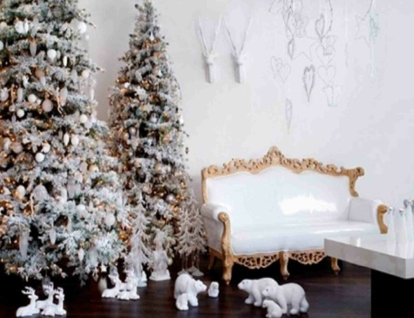 Decorated Christmas trees for the living room design