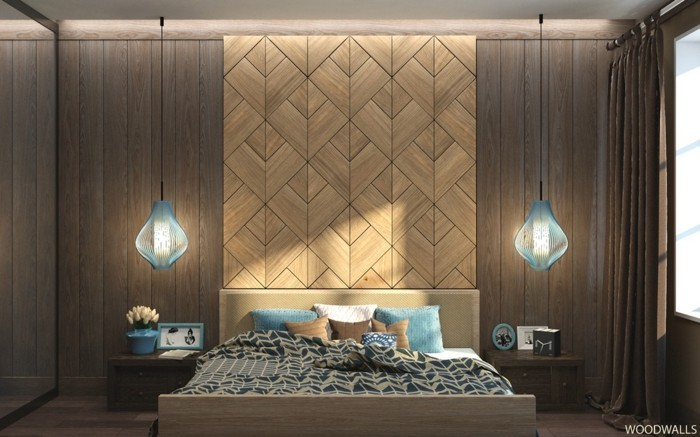 wall decoration of wood bedroom accent wall