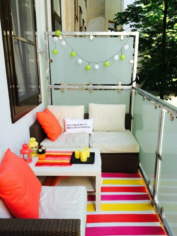 colorful decorating small terrace frame