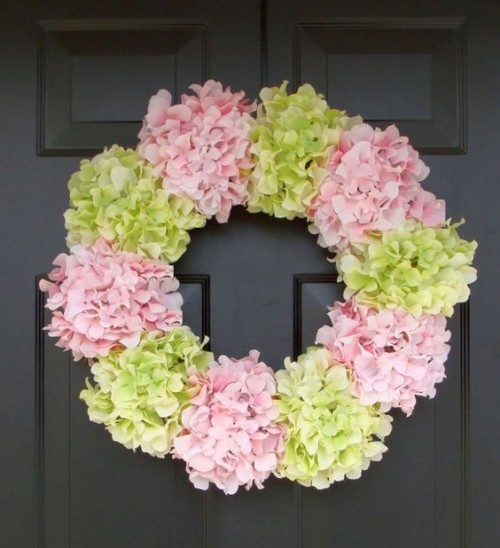 Door wreaths Hydrangea flowers