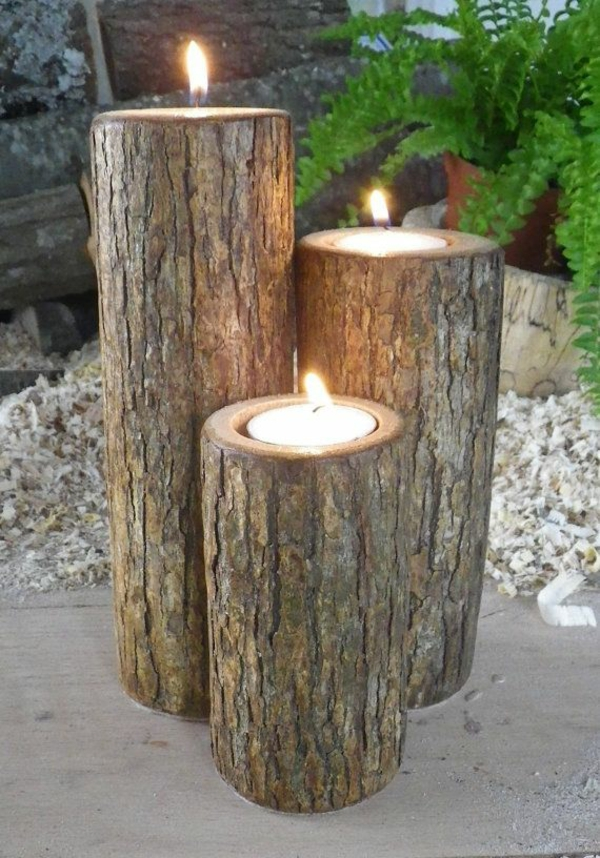tree trunk decoration diy projects candlestick garden
