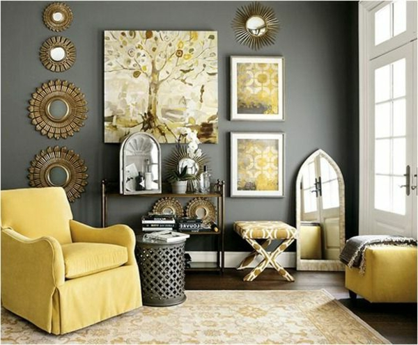 wall color grays combination with yellow interior elements