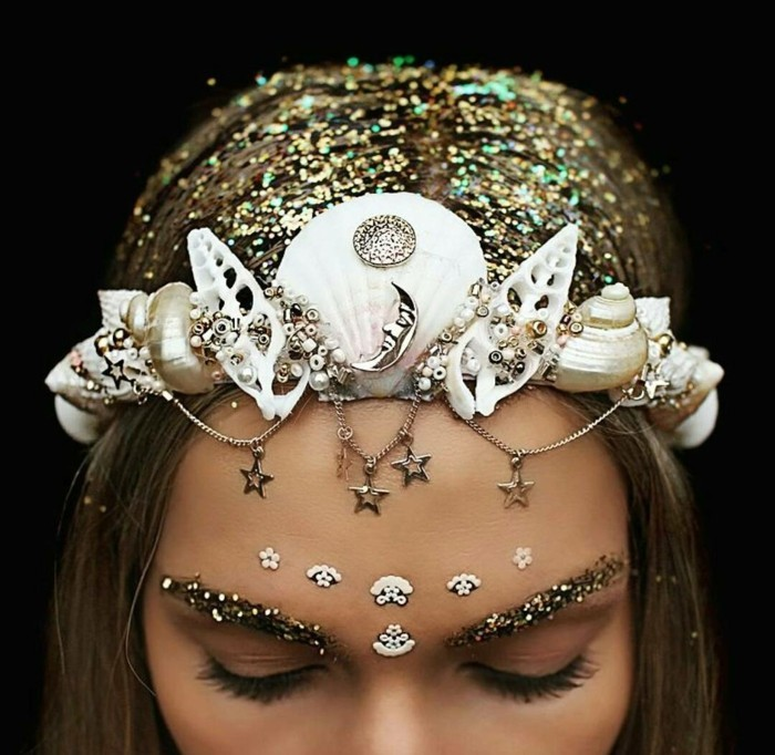 hair jewelry wedding golden hair glitter snails shells