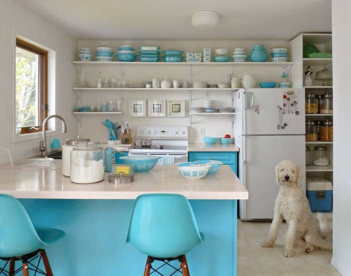 home interior kitchen small spaces kitchen island blue accents