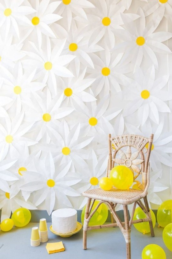 wall decoration ideas party flowers wall decoration white yellow