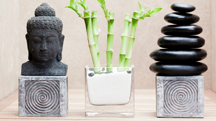 Feng Shui pictures bamboo stones Buddha statue positive energy