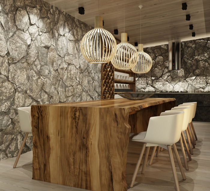 Interior Design Solid Wood Dining Table Natural Stones