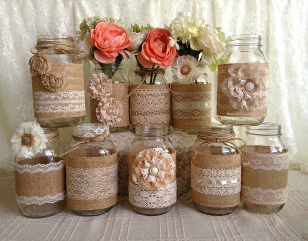 make old jars pluck lace shabby chic deco yourself
