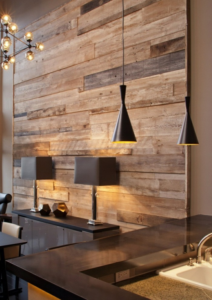 Wall decoration made of wood effect