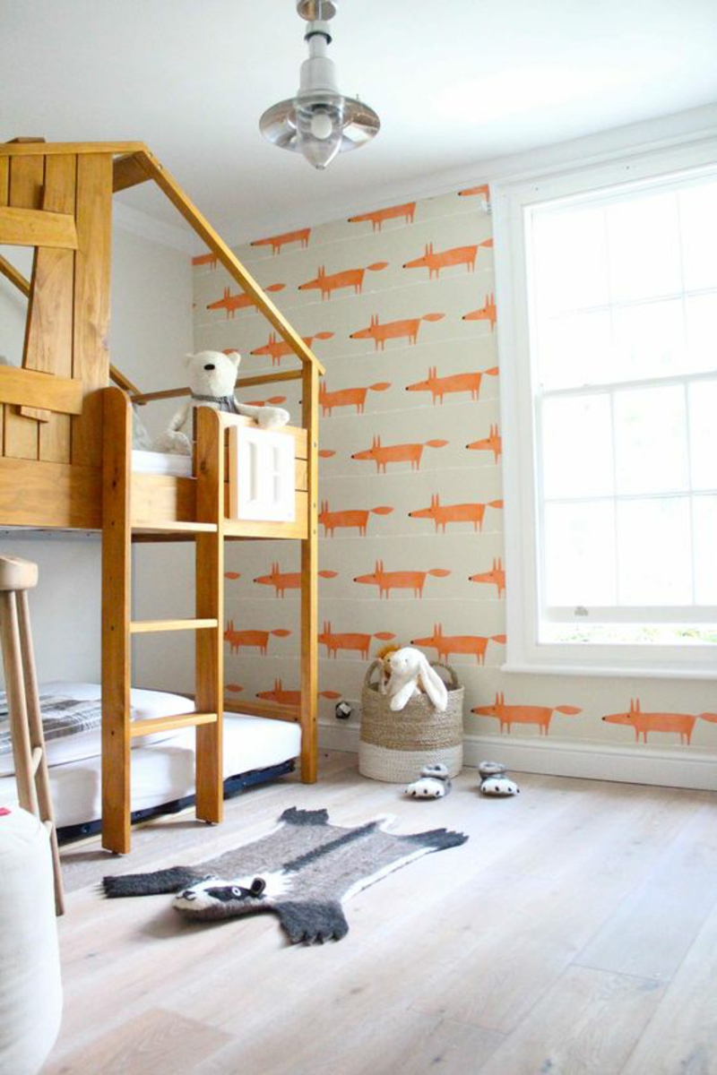 Wallpaper nursery pattern wallpaper orange foxes