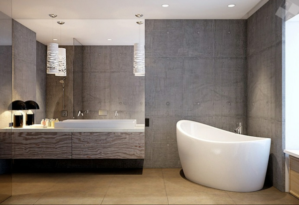 Wall paint-with-concrete look-bath-bad