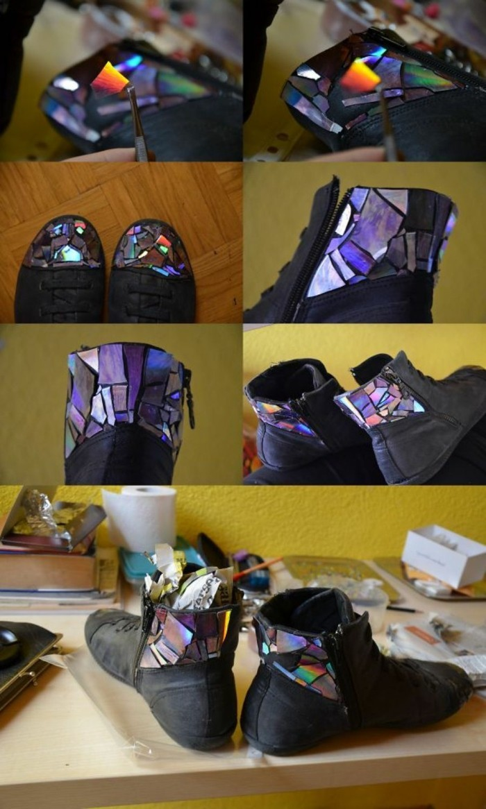 recycling craft with cds upcycling ideas wall deco ideas coloring shoes