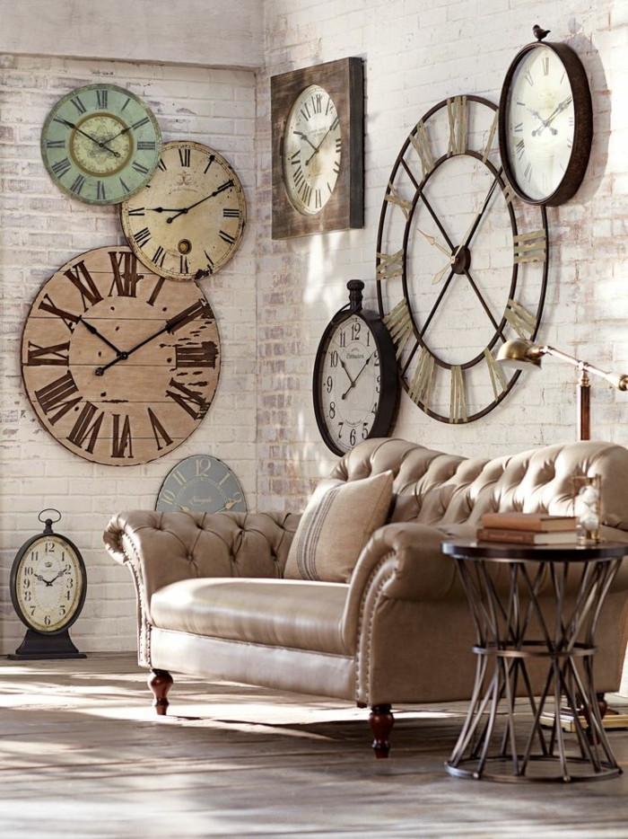 wall clock vintage deco ideas wall decoration brick wall