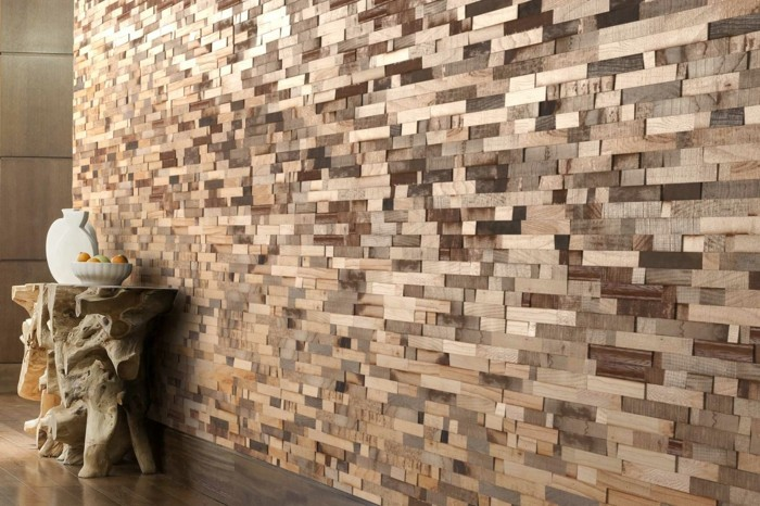 Wooden wall with elegant curves