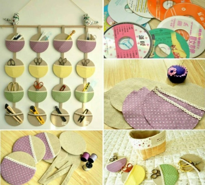 recycling craft with cds upcycling ideas wall deco ideas organizer