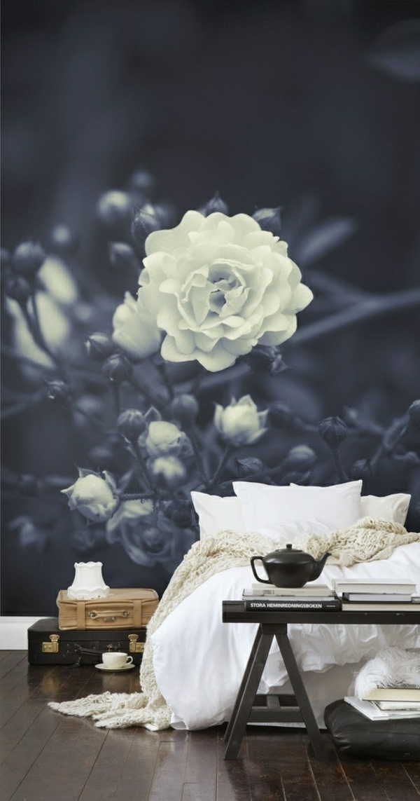 wallpaper pattern flowers bedroom wall design