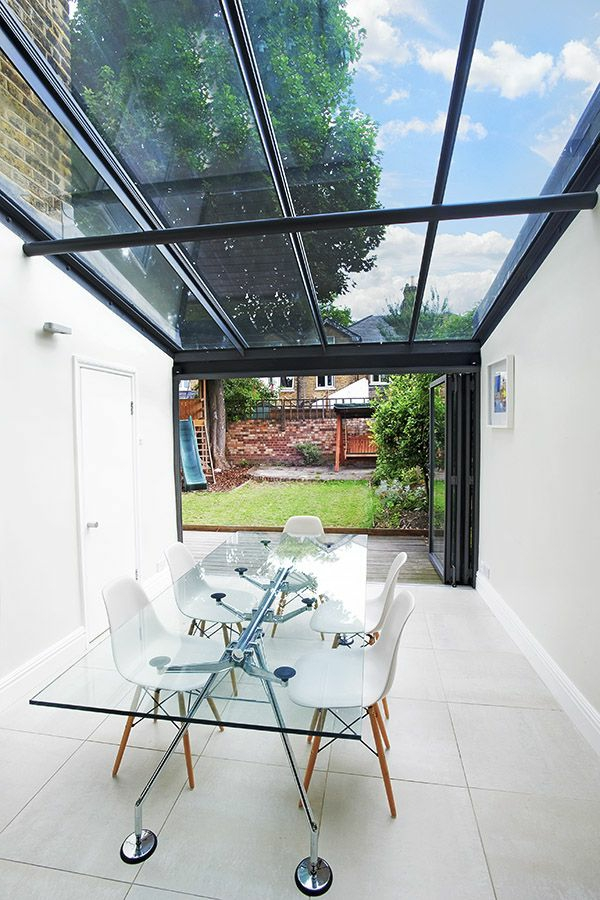 modern terrace glass roof glass table