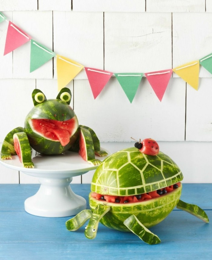 healthy breakfast ideas deco with fruits watermelons animals