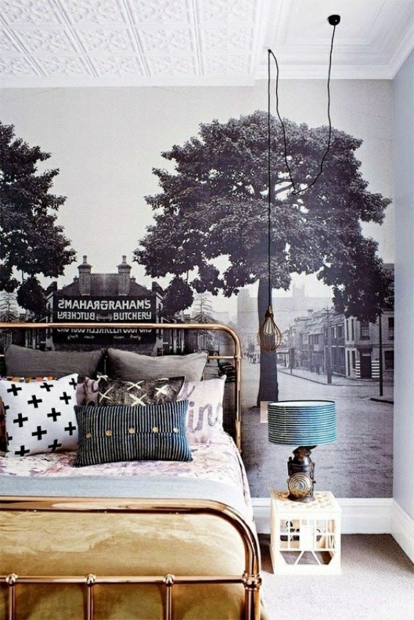 Photo wallpaper bedroom asian with trees