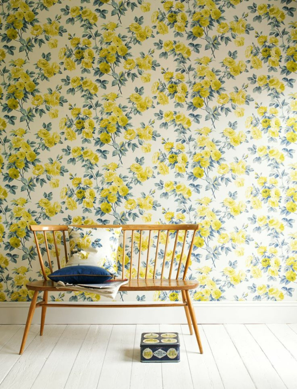 wallpaper pattern yellow flowers white background