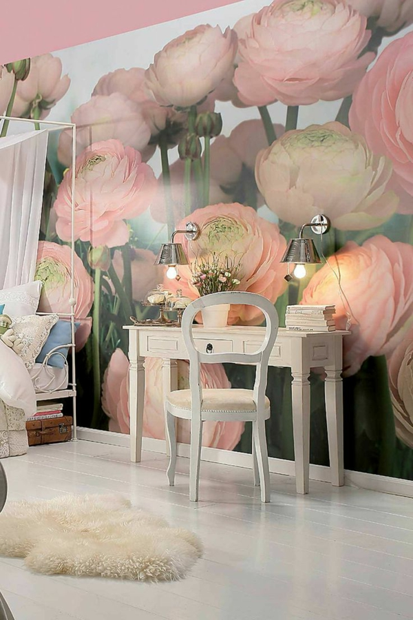 wallpaper pattern floral elements bedroom