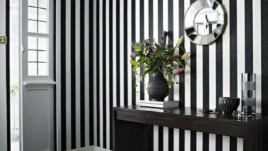 Photo of Black and white striped walls make any room attractive!