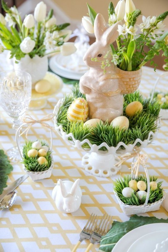 Easter table decoration Easter eggs soft colors grass