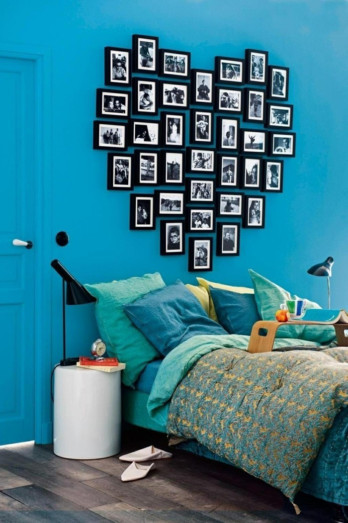 valentines day ideas wall decor photos heart blue wall paint