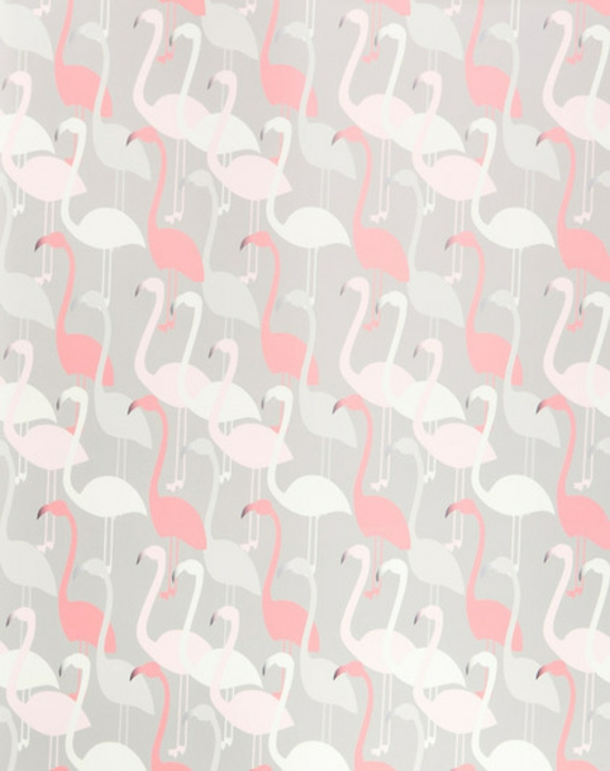 wall design-with-wallpaper-pink-flamingo-pattern